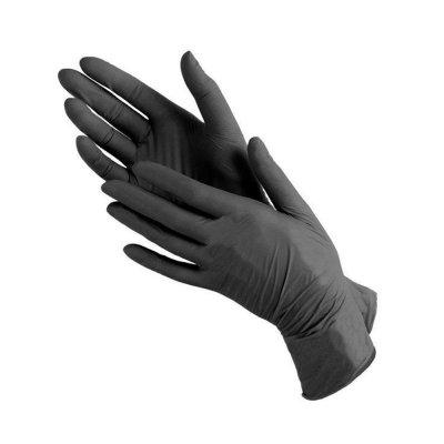Перчатки нитриловые плотные (черные) , размеры XS,S,M.L.
